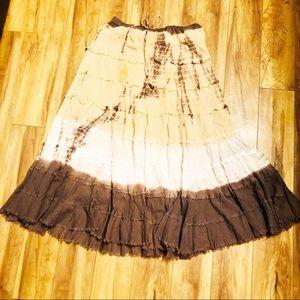 4/$20 Metro Wear Dip Tye Dye Gypsy Maxi Skirt